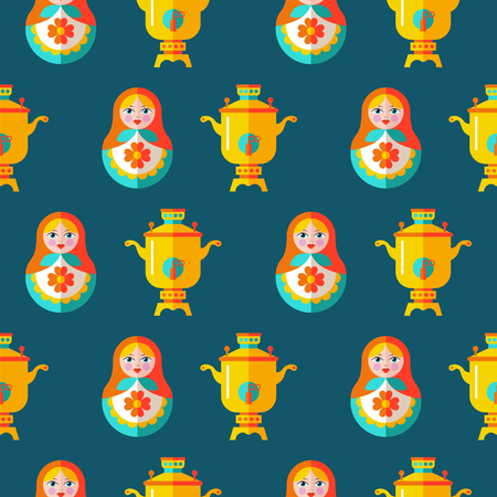 Russian matryoshka and samovar seamless pattern on dark background.