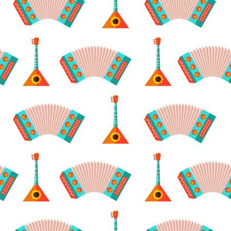 Russian balalaika and accordion seamless pattern.