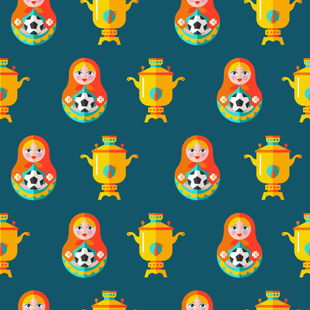 Russian matryoshka with soccer ball seamless pattern