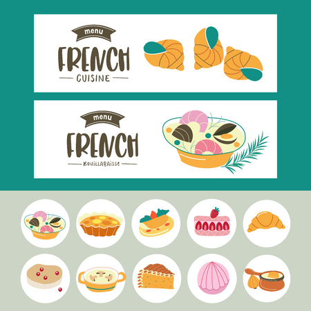 A set of French bakery related banner template and icons