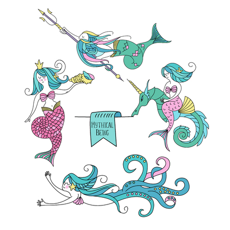 Mythological creature. Set of clipart. Mermaid with a sea shell in his hand, a Triton holding a Trident in his hand, a mermaid astride a sea horse unicorn octopus mermaid. Illustration