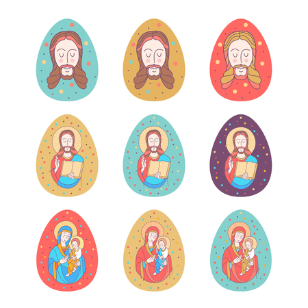 happy Easter!  Festive vector illustration. The virgin with the baby Jesus in her arms. Jesus Christ with the Bible. Set of colored Easter eggs.