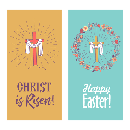 happy Easter! Christ is risen! Vector illustration, greeting card. The cross with the shroud framed by a floral wreath.