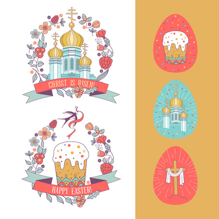 happy Easter! Christian Church with Golden domes and Easter cake framed flower wreath. Vector illustration. Set of Easter eggs. 向量圖像
