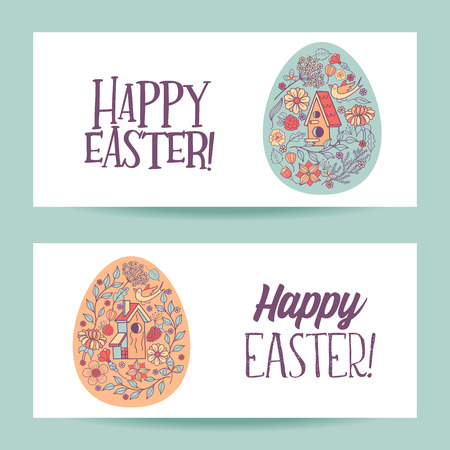 Happy Easter. Easter egg with flower pattern. Flowers, herbs, birdhouse, bird. Spring holiday Easter vector illustration.