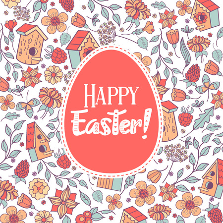 Seamless pattern.  happy Easter. Spring flowers, herbs, birdhouses, birds. Cute spring pattern for printing onto fabric, paper for decoration congratulation with Easter. Banque d'images - 97133399