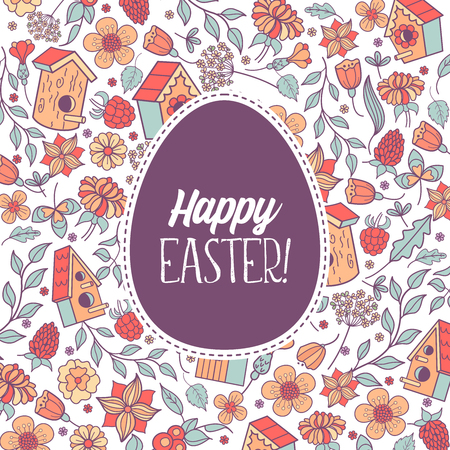 Seamless pattern.  happy Easter. Spring flowers, herbs, birdhouses, birds. Cute spring pattern for printing onto fabric, paper for decoration congratulation with Easter. Banque d'images - 97133406