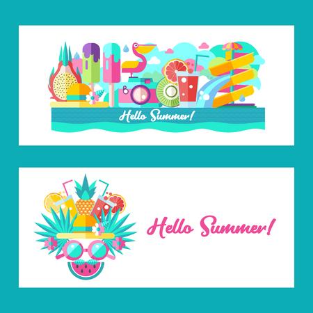 Hello summer landscape design Vector illustration. A set of clipart on the theme of summer, vacation, sea, resort, fruit.