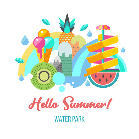 Hello summer concept banner with an inscription of welcome. Amusement Park with against the background of a rainbow and mountain scenery with Ice cream, watermelon, pineapple, and kiwi.