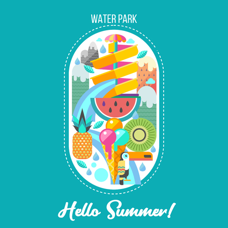 Hello summer. Summer holiday. Vector illustration. Water Park, water slide on mountain landscape background. Toucan, watermelon, kiwi, pineapple and ice cream. A set of cliparts in flat style.
