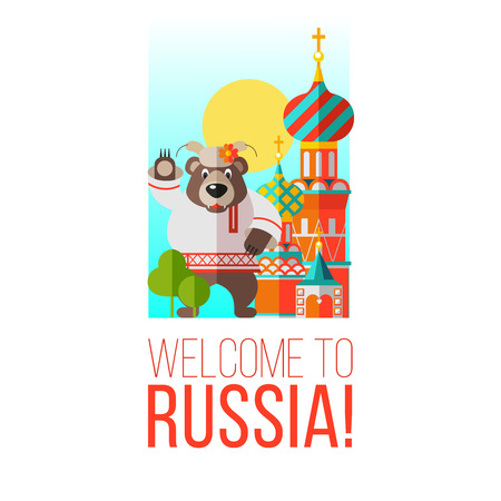 Welcome to Russia banner or printable items Vector illustration. Russian bear stands near St. Basils Cathedral and greets you.