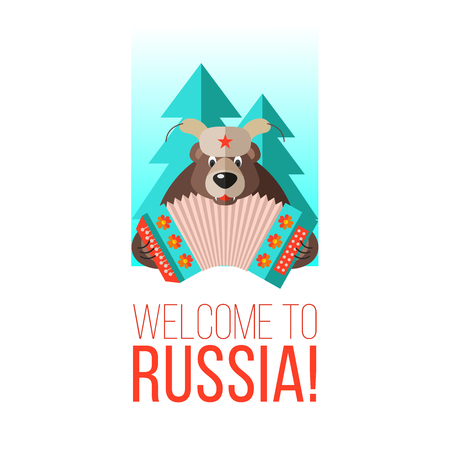 Welcome to Russia. Vector illustration. Russian bear with an accordion.