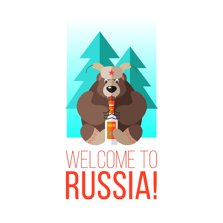 Welcome to Russia. Vector illustration. Russian bear with vodka. Illustration