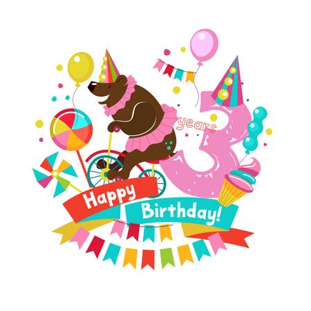 Colorful birthday card invitation design
