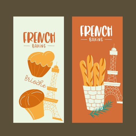 Traditional French pastries, bread. Baguettes and brioche. Vector illustration.