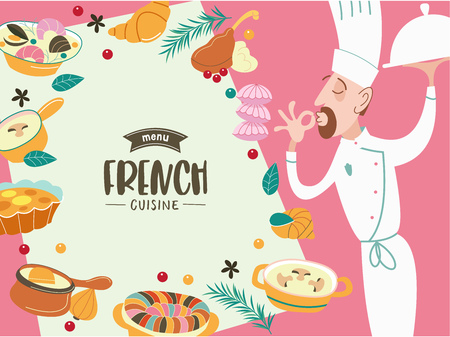 French cuisine and chef. A great set of vector dishes.