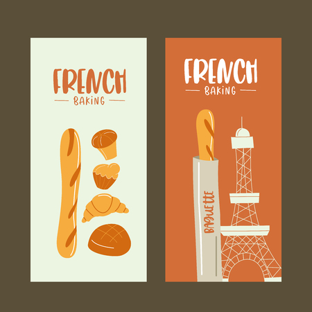 Traditional French pastries, bread. Baguettes, croissants, bread and bread. Vector illustration.