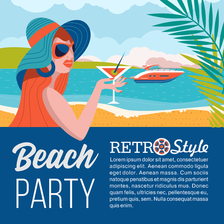 Beautiful girl in sun glasses and a hat on the beach. Holding a cocktail. Ocean landscape and a yacht . Beach party in retro style. Vector illustration.