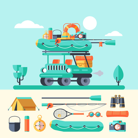 Camping. A trip out of town and car. Summer outdoor recreation. Stay in a tent, fishing, outdoor games. Mountain landscape. Vector illustration.