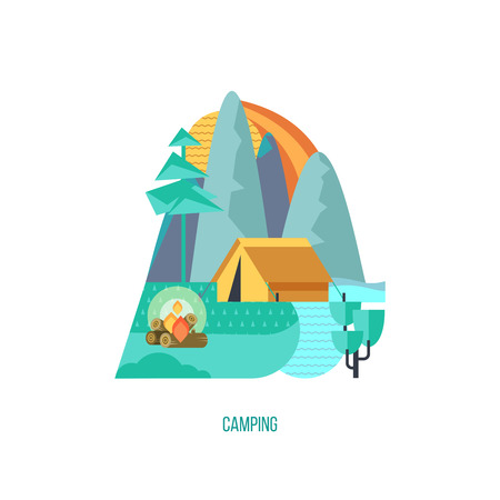 Camping. A trip out of town on nature. Summer outdoor recreation. Stay in a tent, fishing, outdoor games. Mountain landscape. Vector illustration. Ilustrace