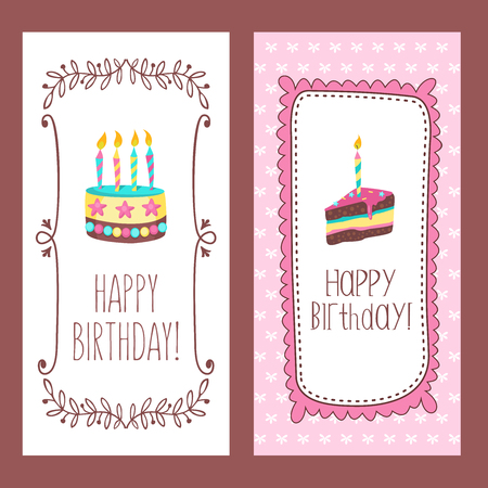 Congratulations on your birthday. Beautiful cute cakes and candlelight cakes. Hand drawn frames. Vector illustration.