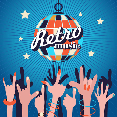 Retro music. Party in the night club. A crowd of people raised their hands dancing under the disco ball. Vector illustration, poster.