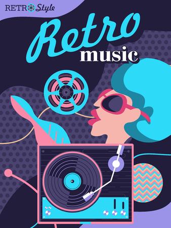 Retro disco stylish illustration of a party in retro style. Retro music.