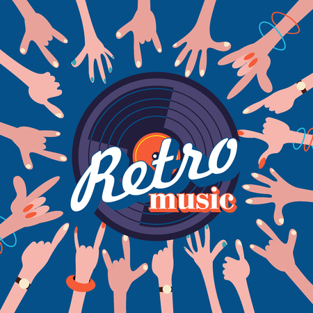 Retro music stylish vector illustration. Vinyl disc and hands of dancing people.