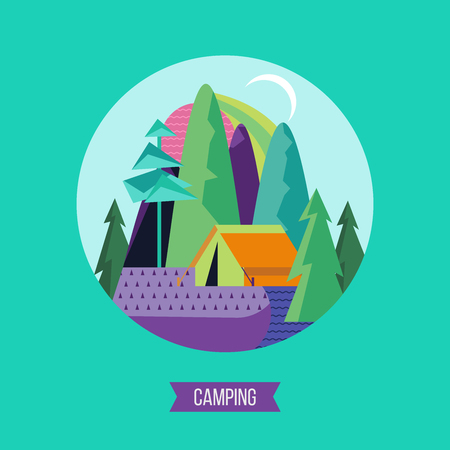 Campground in the woods. Summer outdoor recreation. Vector illustration. The emblem of tourism. Imagens - 98540971