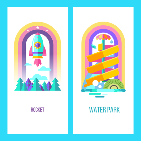 Water park, water slides, summer fun on the water. Summer vacation, tropical fruits, nature, recreation. Vector clipart.