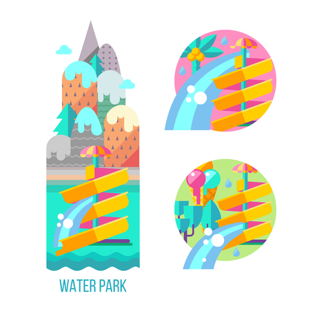 Water park. Water slides, summer fun on the water. Summer vacation, tropical fruits, nature, recreation. Vector clipart. Stock Illustratie