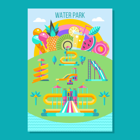Water park. Water slides, summer fun on the water. Summer vacation, tropical fruits, nature, recreation. Vector clipart. Illustration