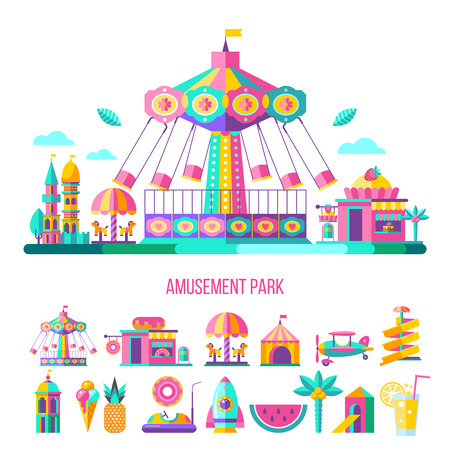 Amusement Park, theme Park, water Park. A large set of carousel icons, water slides, fun on vacation and weekends for the whole family. Vector illustration. Иллюстрация