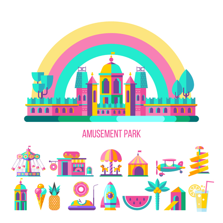 Amusement Park, theme Park, water Park. A large set of carousel icons, water slides, fun on vacation and weekends for the whole family. Vector illustration. Stock Illustratie