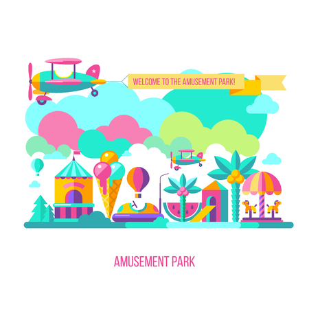 Amusement Park, theme Park, water Park. A large set of carousel icons, water slides, fun on vacation and weekends for the whole family. The plane carries a banner with The inscription welcome. Vector illustration.