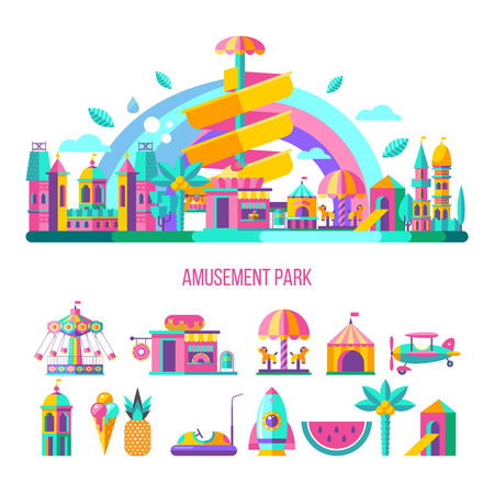 Amusement Park, theme Park, water Park. A large set of carousel icons, water slides, fun on vacation and weekends for the whole family. Vector illustration. Vettoriali