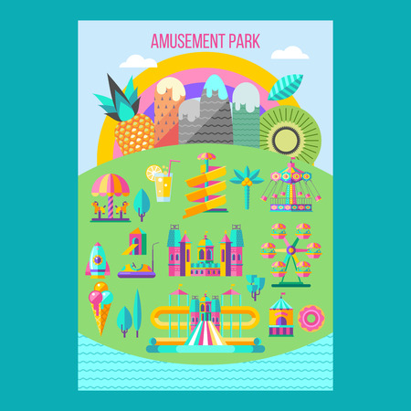 Amusement Park, theme Park, water Park. A large set of carousel icons, water slides, fun on vacation and weekends for the whole family. Poster amusement Park. Vector illustration.