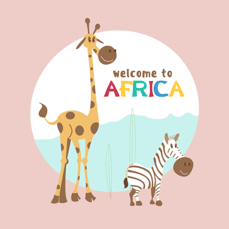 Africa. African cartoon animals. Cute giraffe and Zebra. Welcome to Africa, vector illustration. Banque d'images - 98541413
