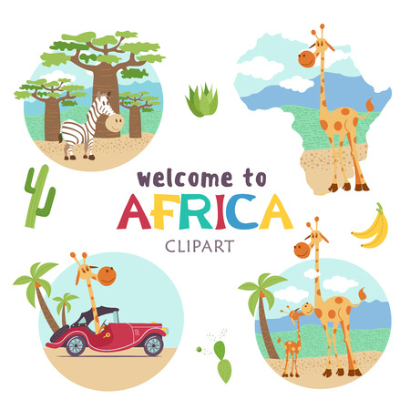 African cartoon animals. Set of cute illustrations, icons. Giraffes and zebras. Welcome to Africa, vector illustration. Banque d'images - 98541514