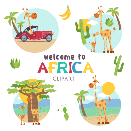 African cartoon animals. Set of cute illustrations, icons. Giraffes and African trees. Welcome to Africa, vector illustration. Banque d'images - 98541520