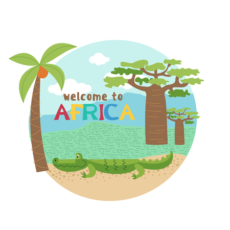 African crocodile near coconut tree and baobab.  Vector illustration. The African flora and fauna. Isolated on a white background. Banque d'images - 98541522