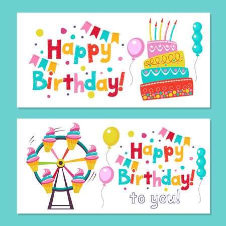 Happy birthday. The invitation to the birthday in the style of a circus show. Vector illustration.