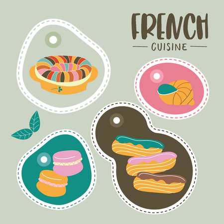 French cuisine. Set of labels with French dishes. Vector illustration.