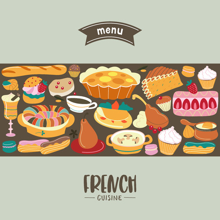 French cuisine.  Menu template, French restaurant, coffee shop. Large set of French dishes. Vector illustration.