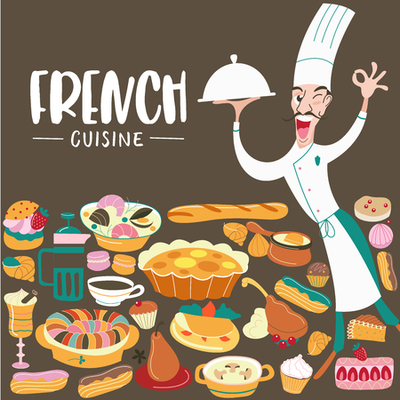 French cuisine. The cook holds the dish in his hand. Menu template, French restaurant, coffee shop. Large set of French dishes. Vector illustration. Ilustrace