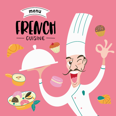 French cuisine. The cook holds the dish in his hand. Menu template, French restaurant, coffee shop. Large set of French dishes. Vector illustration. Illustration