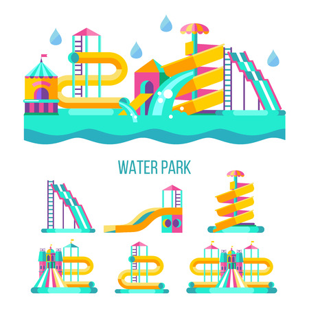 Water park. Water slides, summer fun on the water. Summer vacation, tropical fruits, nature, recreation. Vector clipart. Vettoriali