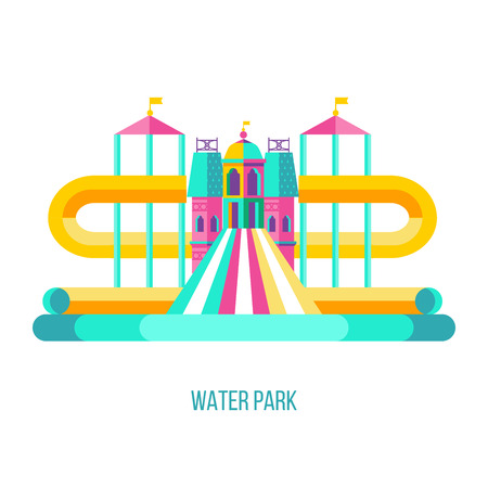 Water park. Water slides, summer fun on the water. Summer vacation, tropical fruits, nature, recreation. Vector clipart. 矢量图像