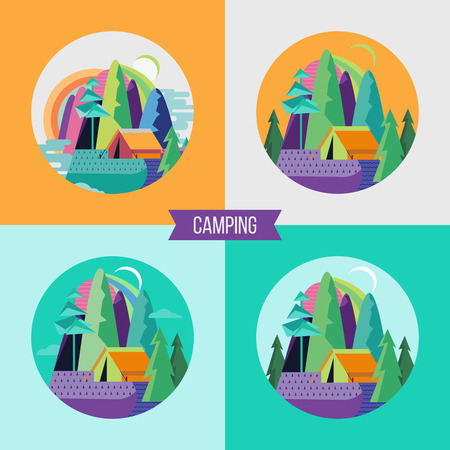 Camping text, Campground in the woods. Summer outdoor recreation Vector illustration.