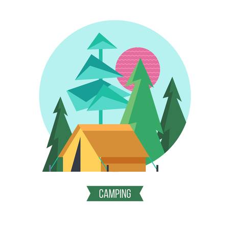 Camping. Campground in the woods. Summer outdoor recreation. Vector illustration. The emblem of tourism. Imagens - 99117145